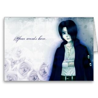 Emo anime boy Customizable card