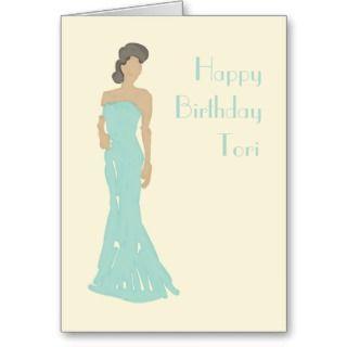 Lady strapless dress birthday greetings card