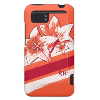 Personalized Orange Red cream modern Art Lilly HTC Vivid Cover