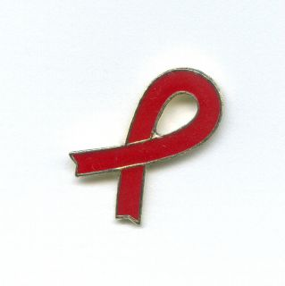 Red Ribbon Badge Metall Button Emblem Pin Pins Anstecker 273