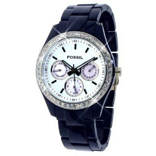 Fossil ES2209 Womens Blue Plastic MOP Dial Crystal