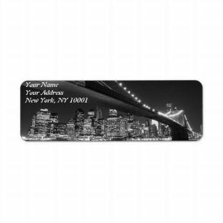 Brooklyn Bridge at Night, New York City Return Address Labels