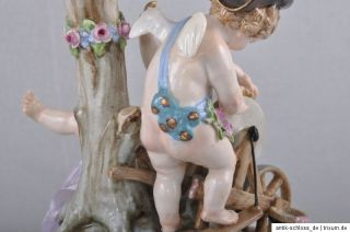 Meissen Figur Putto am Schleifstein, Amor Liebespfeile schleifend 1