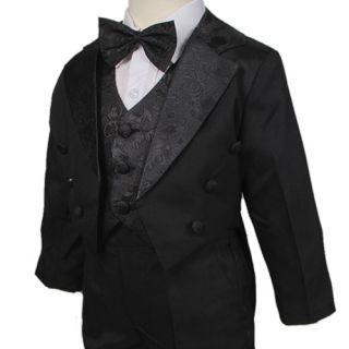 D257 Baby Boys 5pc Christening Jacquard Vest Formal Tuxedo Suit Black