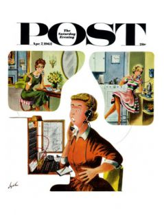 Eavesdropping Operator, Saturday Evening Post Cover, April 7, 1962 Giclee Print by Constantin Alajalov
