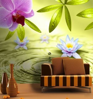 Traumhafte Fototapete Lotusteich Größe: 280cmx270cm Foto Blüte