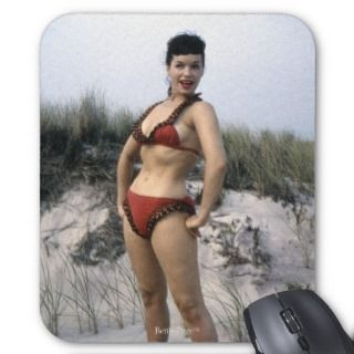 Bettie Page Vintage Pinup Model at Beach in Red Mousepads