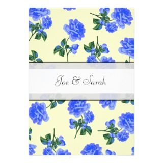 Dark Blue Roses Floral Cream Wedding Invitation