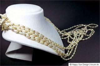 reihige Süsswasser Perlen 585 Gold Collier Kette Nr. 4924