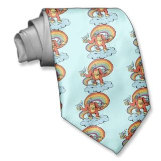 Monkey and Monsters Friends on Cloud   Groovy Man Neck Wear