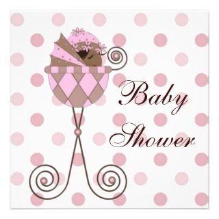 Pink Brown African American Baby Girl Shower Personalized Invitation