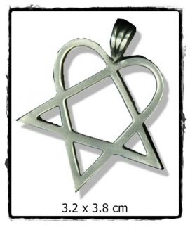 SA290 HIM Heart Pentagram Anhänger Heartagram Kette