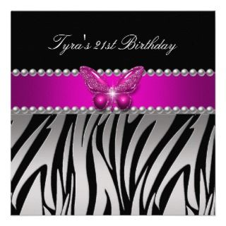 Zebra Silver Black Butterfly Birthday Party Personalized Announcements