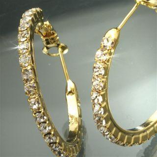 o980 NEU Luxus Damen Gold Creolen/Ohrringe m. Strass Steinen/Schmuck