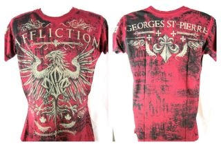 GSP Georges St Pierre Reversible Red Affliction Premium T shirt New