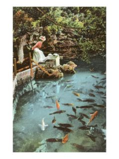 Victorian Lady by Fish Pond Giclee Print