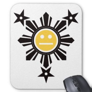 Filipino Sun and Stars Face   Black and Yellow Mouse Pad