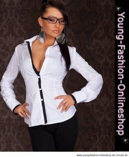 10694 Bluse Business L 38 Weiss Schwarz Langarmbluse sexy Fashion