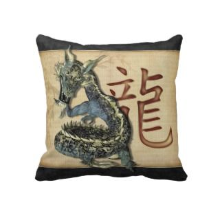 Chinese Blue Dragon Throw Pillow