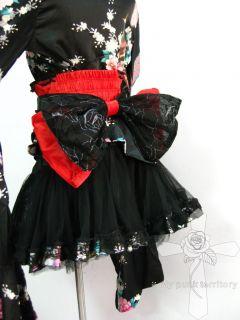 Gothic Lolita Phoneix Legendary Satin Geisha Visual Kei Yukata 4PC