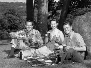 Friends Enjoying Picnic in Country Photographic Print by George Marks