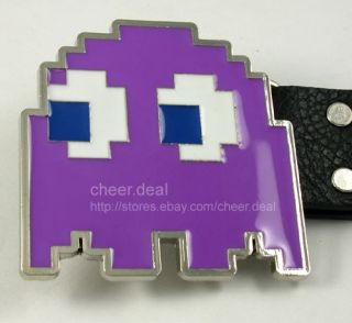 From Pac man Ghost Purple Buckle Genuine Leather Belt