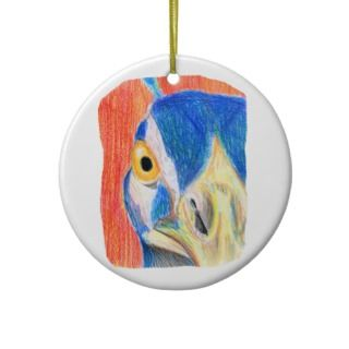 Peacock head colored pencil drawing sketch christmas tree ornament