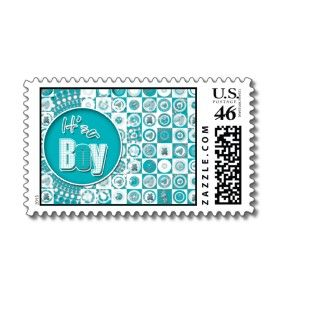 Baby boy birth announcement postage stamps