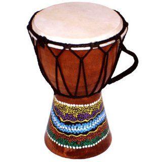 Bemalte Djembe Trommel, West Afrikanisches Bongo (15cm hoch):
