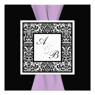 White Lavender Damask PRINTED RIBBON Announcement