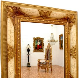WANDSPIEGEL weiss 78x68cm LUXUS HOLZ RAHMEN SPIEGEL ANTIK GOLD WEISS