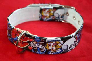 SKULL oldschool TATTOO Flash Rockabilly Hundehalsband M