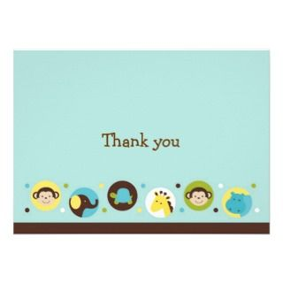 Dot Safari Jungle Animal Thank You Note Cards invitations by little