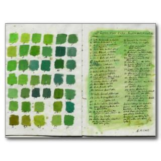 Postcard forest diary , spring colour chart