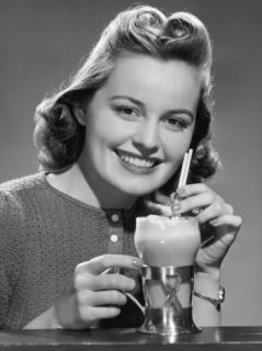 Woman With Ice Cream Drink Photographic Print by George Marks