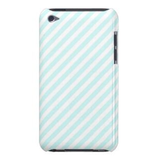 Vintage Girly Teal Blue White Stripes Pattern Barely There iPod Case