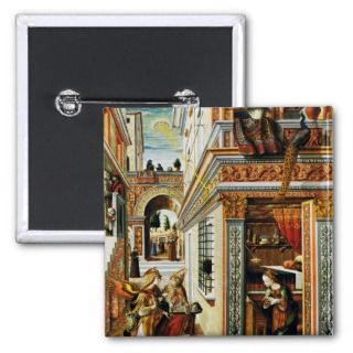 Annunciation With St. Emidius 1486 Pinback Buttons
