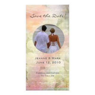Romantic floral save the date wedding photocard customized photo card