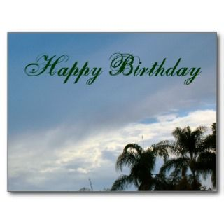 Happy Birthday trees and sky Postcard
