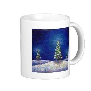 Christmas art fun colorful trees original painting mugs by flyinggirl