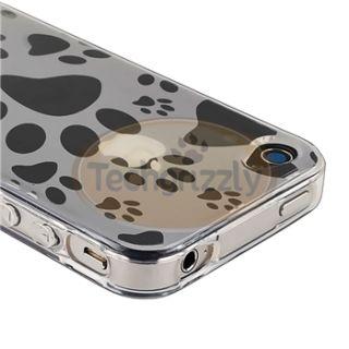 Clear Dog Paw Foot Print TPU Soft Skin+Black White Dock Cap For iPhone