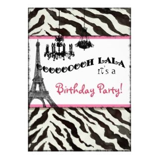 Birthday Party Invite, Zebra, Eiffel Tower