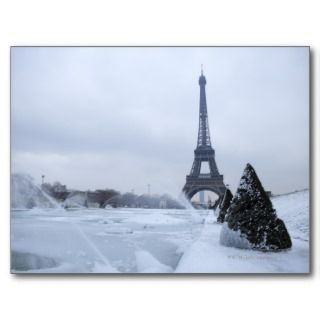 Eiffel tower in winter postcard