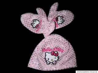 Mütze Handschuhe Set Hello Kitty rosa creme 48 50 cm (Gr. 80 86 92 98