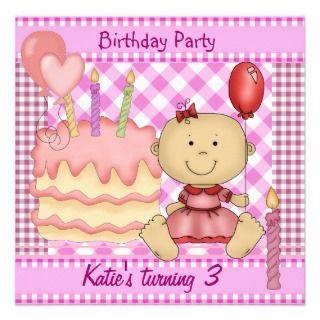 Childs Girl 3rd Birthday Pink Checks Gingham Personalized Invites