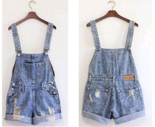 OCA18 Super Cute Korea Stylish Girl Denim Torn Overall Pants Shorts