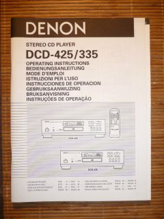 /Operating Instructions für Denon DCD 425/DCD 335,ORIGINAL