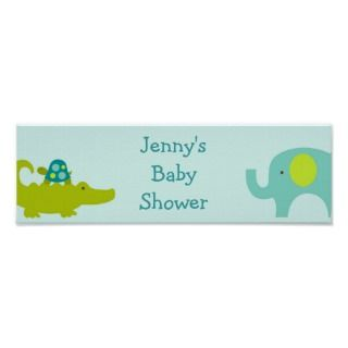 Mod Safari Jungle Animal Baby Shower Banner Sign posters by little