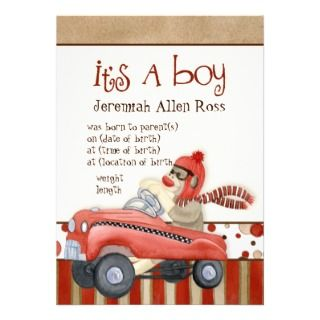 Sock Monkey Pedal Car, Boy Baby Birth Announcement