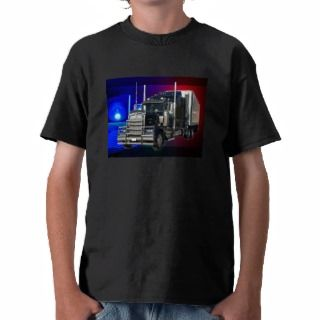 SEMI TRACTOR TRAILER WITH POLICE LIGHTS BACKGROUND T SHIRT